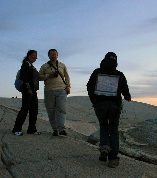 MPB End of Signal (2011), on the rocks with tourists, Peggy's Cove, NS.